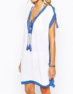 Surf Gypsy Tassel Trim Beach Cover Up Kaftan