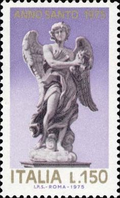 One of four stamps depicting some Bernini's statues of Angels on on famous Ponte Sant'Angelo emitted in 1975 in ocassion of the Holy Year.