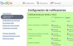 configurar notificaciones en Badoo