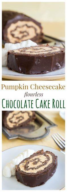 Pumpkin Cheesecake Flourless Chocolate Cake Roll is an impressive fall dessert…