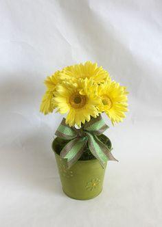 Spring Flower Arrangement, Gerbera Daisy , burlap, floral arrangement, Easter decoration, home decor, bridal shower decorations, by Leopard on Etsy
