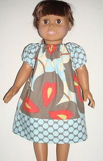 """american girl doll dress pattern - I """"think"""" this looks easy. But that can be deceiving as sewing doll clothes is hard though. Daughter-in-law Lisa originally posted this, an she is a GREAT seamstress! Sewing Doll Clothes, American Doll Clothes, Sewing Dolls, Girl Doll Clothes, Girl Dolls, Ag Dolls, Sewing Diy, Peasant Dress Patterns, Doll Dress Patterns"""