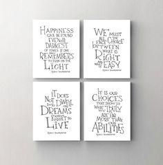 Albus Dumbledore quote print set of 4 -Harry Potter art print- inspirational wall art , kids room decor, dorm decor