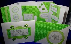 All Occasion Cards  Set of 6  Green and White by DustyBDesign