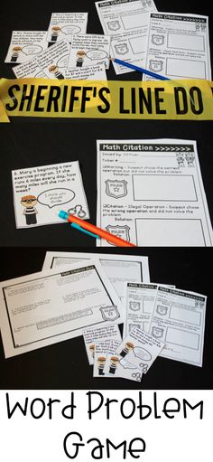 Word Problem Math Cops Game for addition, subtraction, multiplication, and division! Students can become police officers!
