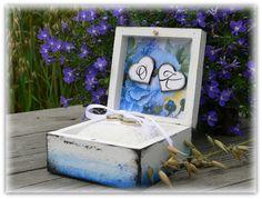 wedding ring box, decoupage ring box, hand made ringo box, blue ring box