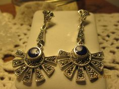 Vintage Designer Deco 0.5ctw Lapis Lazuli, Marcasite Sterling Silver 925 Dangle Post Earrings, Wt. 9 Grams by TamisVintageShop on Etsy