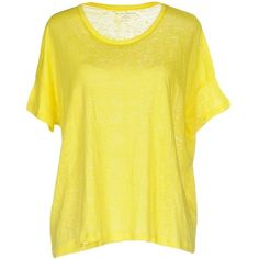 Scaglione City T-shirt ($124) ❤ liked on Polyvore featuring tops, t-shirts, yellow, linen tee, jersey top, yellow top, short sleeve jersey and linen t shirt
