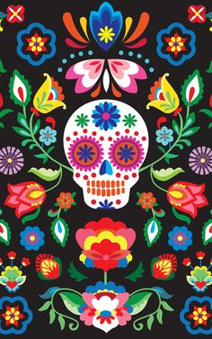 This vibrant wallpaper features a Dia de los Muertos skull design, with a central bright calavera, which appear everywhere during the holiday as sweets, ma Mexican Skulls, Mexican Folk Art, Sugar Skull Wallpaper, Day Of The Dead Artwork, Day Of The Dead Skull, Sugar Skull Art, Sugar Skulls, Sugar Skull Painting, Sugar Skull Design