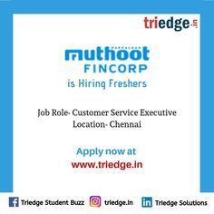 Worn out by Helter Skelter life?  Don't worry!!  Muthoot Fincorp is here with an exciting opportunity.  Profile: Customer Executive Service  Location: Chennai  Visit: www.triedge.in Jobs For Freshers, Find A Job, Chennai, Don't Worry, Opportunity, Digital Marketing, Finance, Projects To Try, How To Apply