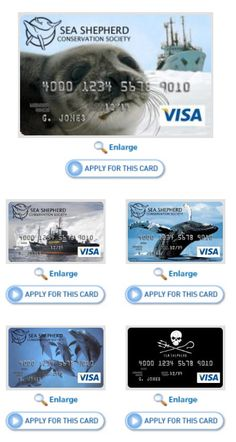 The Sea Shepherd Visa® Platinum Rewards Card  - the issuing bank donates 50 dollars each time a card is set up and a percentage of sales afterward to the nonprofit