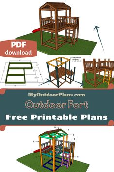 This step by step diy woodworking project is about outdoor fort plans. I have designed this super simple fort so you can build one in the weekend, using basic materials and tools. Backyard Fort, Backyard For Kids, Backyard Playset, Outdoor Forts, Outdoor Play, Diy Fort, Playhouse Plans, Wooden Playhouse, Ideias Diy