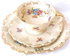 vintage tea set tea cups and saucers teacup trio set multicolor flowers tea cup trio german tea cups Schwarzenhammer 112