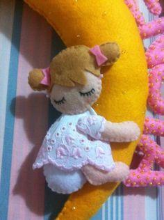 Fiocco nascita bimba in pannolenci personalizzabile