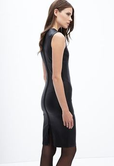 insley-stretch-lamb-leather-dress People Like, Leather Fashion, Lamb, Stretches, Fashion Inspiration, High Neck Dress, Street Style, My Style, Hot