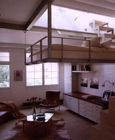 I'm obsessed with lofts Home Interior, Interior Architecture, Building Architecture, Interior Ideas, Suspended Bed, Casa Loft, Interior Minimalista, Bedroom Loft, Loft Room