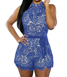 Shawhuwa Womens Sexy Floral Lace Halter Sleeveless Casual Party Romper L Blue  Special Offer: $15.29  155 Reviews It is very easy and comfortable to wear. Unique design make you charming and keep you looking sexy!Material : 95%Polyester 5%SpandexHigh neckSleevelessBack zipperWaistbelt...