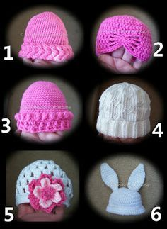6 crochet baby hats with free directions --free patterns with this one too-- I like #5