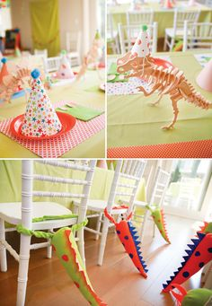 Dino Party ideas: wooden dinosaur centerpieces (with party hats) & felt tail chair backs