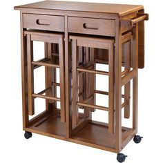 $135. and it's on wheels!! 29 x 29 x 32. Winsome Wood Space Saver Table with 2 Stools, Teak