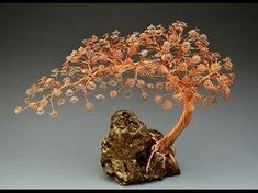 One-of-a-kind, hand-make artwork by metal artist Omer Huremovic. /H-Omer Design/ semi - cascade style I constructed this Bonsai wire tree sculpture out of co. Wire Tree Sculpture, Sculpture Clay, Sculpture Ideas, Copper Wire Art, Bonsai Wire, Wire Trees, Metal Tree, Paper Flowers Diy, Wire Crafts