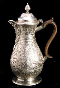 silver chocolate pot, 1852. photo by: lincolnshire council archives