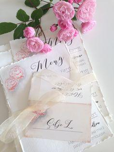 Meny card with pink watercolour peonies /Menykort med rosa akvarellpeoner. I make custom design, sending worldwide.