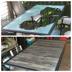 Patio table-top redo after glass shattered from the wind.