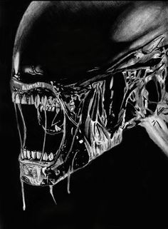 """Alien painting I did with gouache. Sized Din Had some reference- a photography showing an alien modell. So the coloration is mainly done by me. Finished with airbrush."" *huge fan of alien* (-) Alien 1979, Aliens Movie, Aliens And Ufos, Alien Vs Predator, Predator Tattoo, Alien Painting, Alien Photos, Alien Pictures, Hr Giger Art"