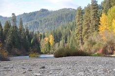 Fall on the Wenatchee River beach at HCW Lodge