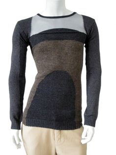 Slim fit longsleeved pullover in ecofriendly wool and cotton yarn with clashing inlays. $159.00