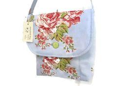 Rose fabric satchel bag,vintage rose messenger bag,gift for Mum,pink rose knitting bag,rose fabric shoulder handbag,summer cotton lunch bag