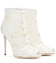 Dolce & Gabbana Lace Peep-toe Ankle Boots on shopstyle.co.uk