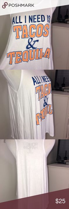"""NWT TACOS AND TEQUILA ORANGE AND BLUE TANK MEDIUM What a fun tank! Did someone say tacos and tequila?! Fun game day tank! NWT Rosie & Harlow flowy tank. Length is 24"""" in front and 26"""" in back, bust is 18"""" lying flat. See pics for detail measurements. rosie & harlow Tops Tank Tops"""