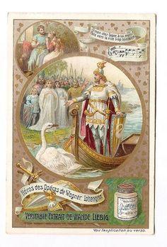 Lohengrin - - Héros opéra Wagner - Chromo Liebig  Trade Card
