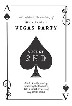 Ace Of Spades printable invitation template. Customize, add text and photos.  Print, download, send online or order printed!  #invitations #printable #diy #template #birthday #party