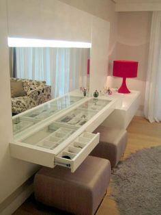 bedroom mirror and accessory drawers