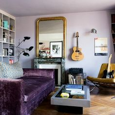 Un salon parme et rock