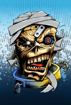 Based on Eddie character from the heavy metal band Iron Maiden, ano. Eddie the Head Heavy Metal Art, Heavy Metal Bands, Rock Posters, Band Posters, Rock And Roll Sign, Iron Maiden Posters, Iron Maiden Albums, Eddie The Head, Classic Rock Albums