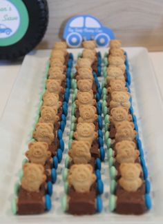 My favorite little treat...the cars made of Milky Way bars, candy circles for wheels, and Teddy Graham drivers!