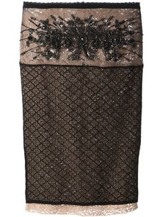 Brown and black cotton blend floral lace skirt from Nº 21 featuring a rear zip fastening, a layered design and a straight hem.
