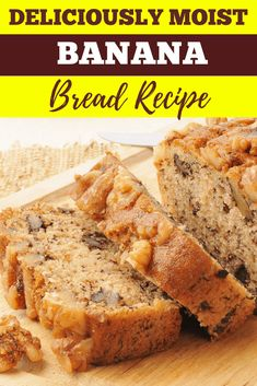 This eggnog banana bread recipe is a delicious way to use leftover eggnog and gives your banana bread a little extra kick! This eggnog banana bread recipe is a delicious way to use leftover eggnog and gives your banana bread a little extra kick! Moist Banana Bread, Baked Banana, Banana Bread Recipes, Banana Bread Recipe For 2 Loaves, 2 Bananas Banana Bread, Leftover Eggnog Recipe, Recipes Using Eggnog, Eggnog Bread Recipe, Eggnog Cake