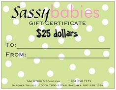 *FREE* we are giving away a $25 Gift Certificate tomorrow on our Facebook page www.facebook.com/sassybabies