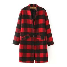 SheIn(sheinside) Red Black Stand Collar Plaid Coat ($39) ❤ liked on Polyvore featuring outerwear, coats, jackets, red, long sleeve coat, red tartan coat, plaid coat, red coat and long coat