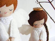 PDF pattern  Felt angels. Christmas tree ornaments boy and