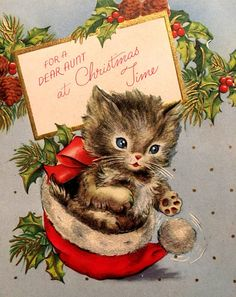 Vintage Christmas Card Kitten NOS On Unused Mid Century Gold Embossed Aunt Cat Christmas Cards, Christmas Kitten, Christmas Graphics, Old Fashioned Christmas, Christmas Scenes, Christmas Past, Christmas Animals, Vintage Christmas Cards, Retro Christmas