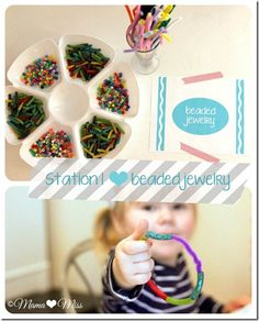 Beaded Bracelets with Pasta & Beads {mama♥miss} ©2012 http://www.mamamiss.com/2012/11/07/celebration-arts-n-crafts-birthday-activities/