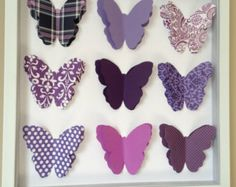 Purple Butterfly, 3D Paper Art, 12x12 shadow box frame
