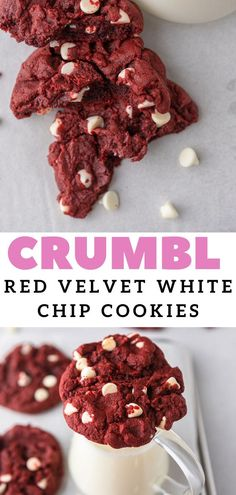 This CRUMBL red velvet white chip cookie recipe is thick, soft, and chewy. It is packed with white chocolate morsels and uses red food coloring and cocoa powder to get its bright red hue. This CRUMBL copycat recipe is easy to follow and will yield giant cookies that taste just like the bakery's! Chocolate chip red velvet cookies are quickly becoming out family's favorite! #crumbl #crumblcookies #redvelvetcookies #chocolatechipredvelvetcookies Best Dessert Recipe Ever, Best Sugar Cookie Recipe, Chip Cookie Recipe, Best Sugar Cookies, Cookie Recipes, Chocolate Morsels, Chocolate Desserts, Fun Desserts, Giant Cookies