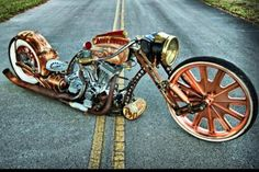Steampunk bobber, I'd whip the shit out of this Steampunk Motorcycle, Bobber Motorcycle, Cool Motorcycles, Classic Motorcycle, Indian Motorcycles, Motorcycle Design, Triumph Motorcycles, Custom Choppers, Custom Bikes